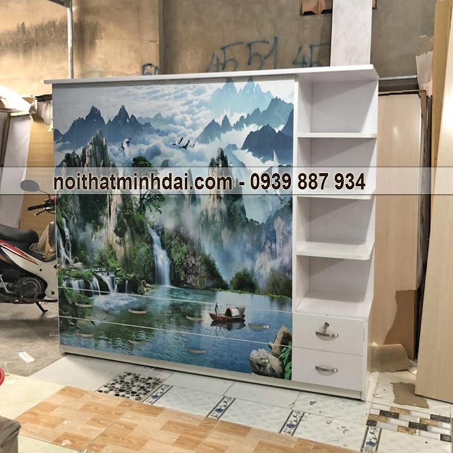 Tủ nhựa Đài Loan phong cảnh 3d